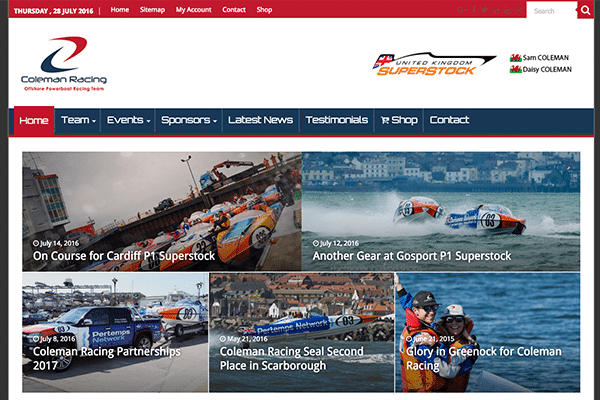 Coleman Racing Website Main